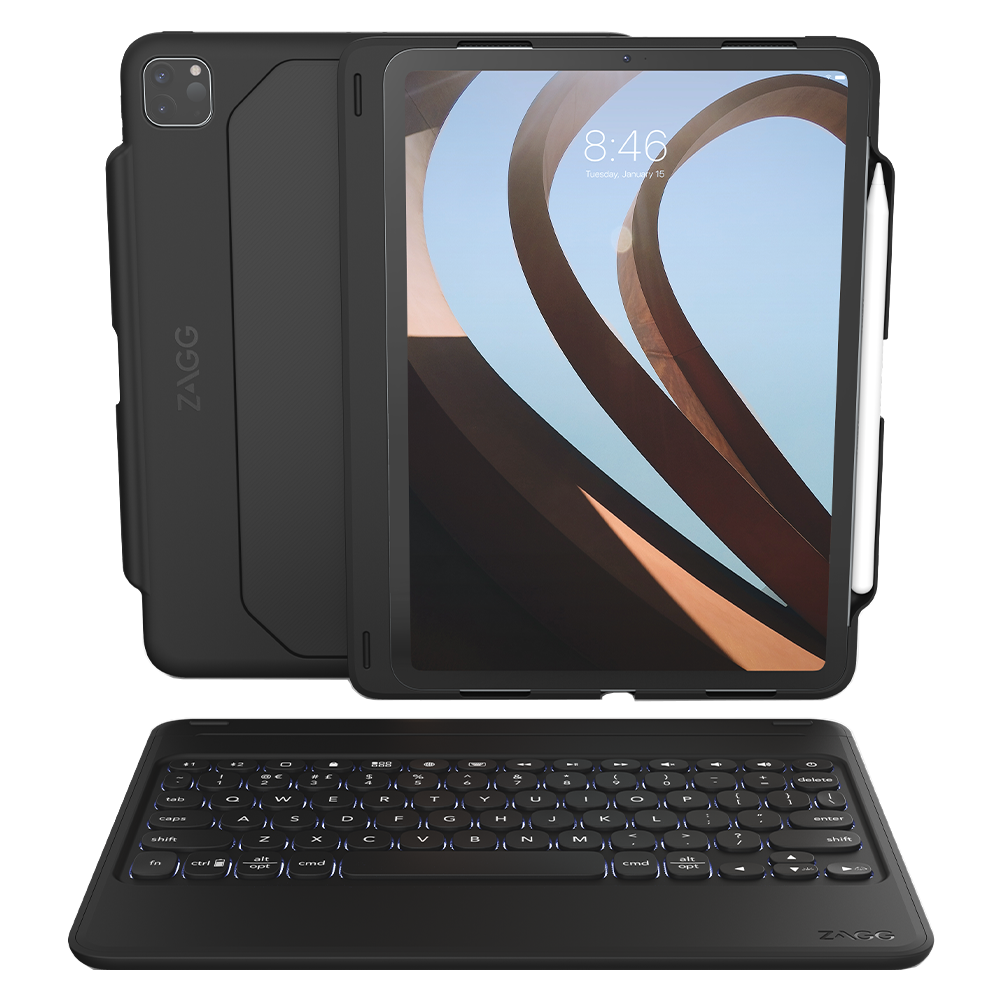 ZAGG - Rugged Book Go Keyboard and Case for Apple iPad Pro 11 (2020 / 2018) - Black