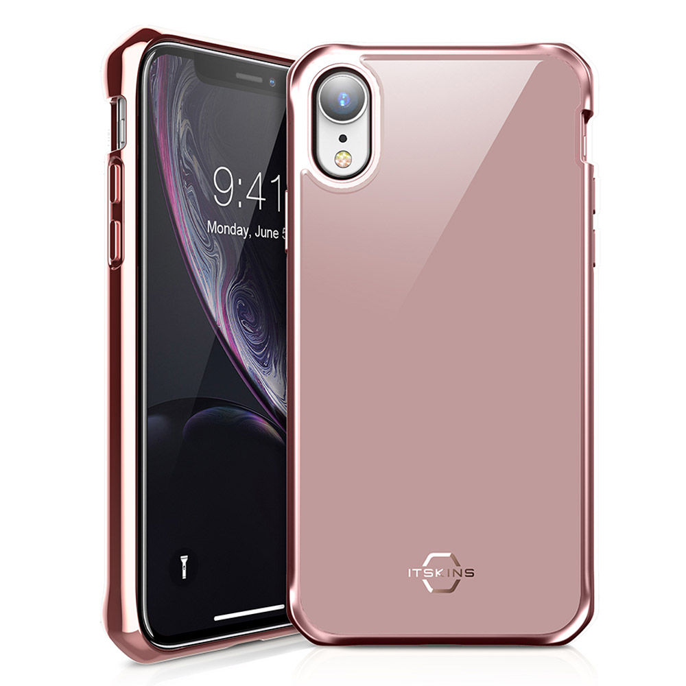 Wholesale cell phone accessory ITSKINS - Hybrid Glass Iridium Case for Apple iPhone XR - Rose