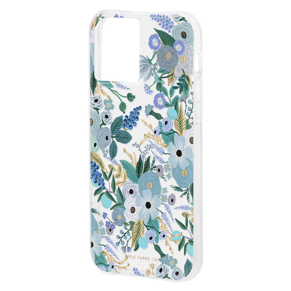 Rifle Paper Co - Ultra Slim Antimicrobial Case for Apple iPhone 12 / 12 Pro - Garden Party Blue