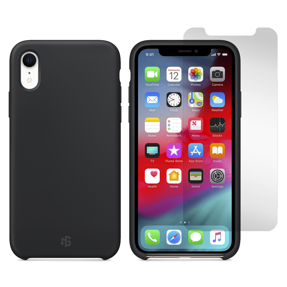 Gadget Guard - Essentials Bundle Case Plus Glass Screen Protector for Apple iPhone XR - Black