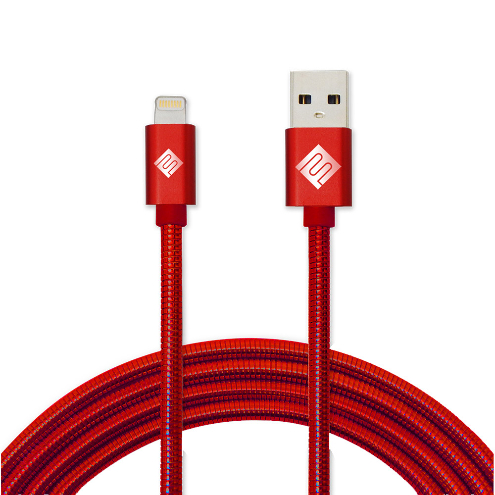 Wholesale cell phone accessory Qmadix - Full Metal Jacket Apple Lightning Cable 3.3ft - Red