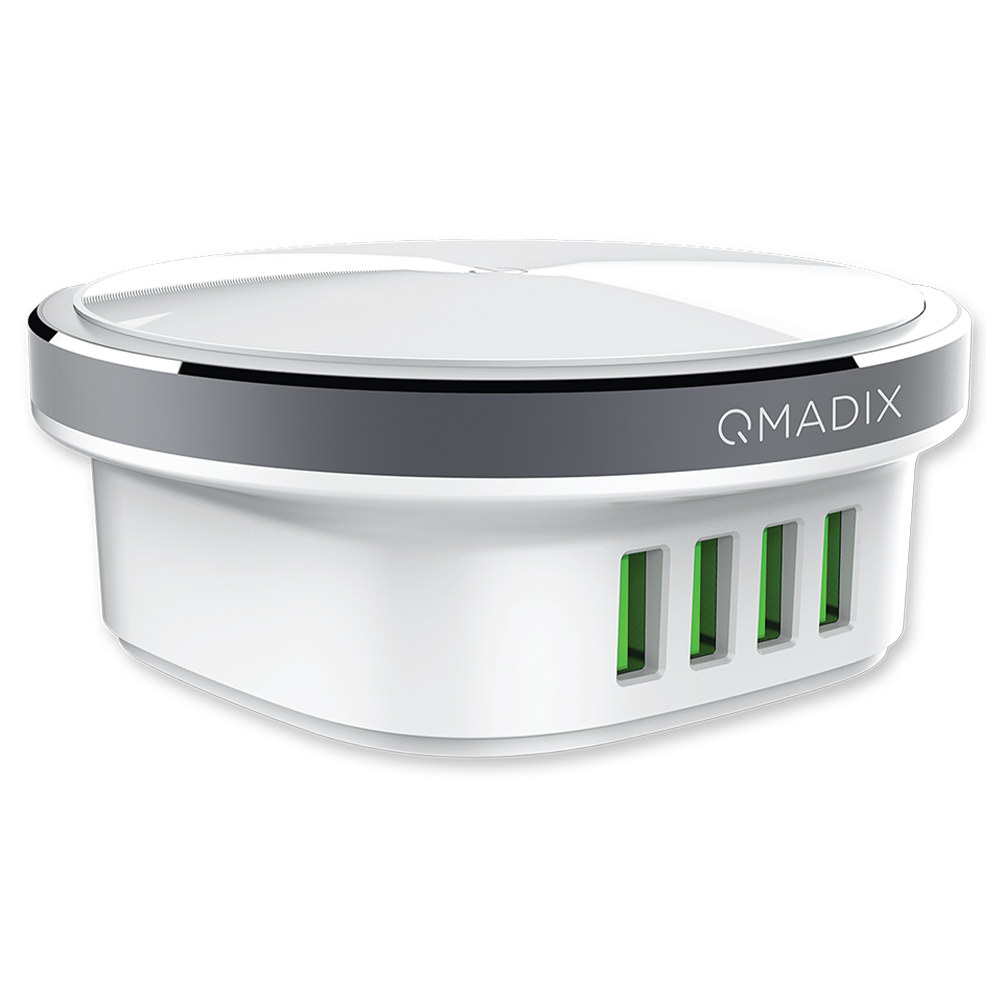 Wholesale cell phone accessory Qmadix - 4 Port Travel Charging Hub 4.4 A - White
