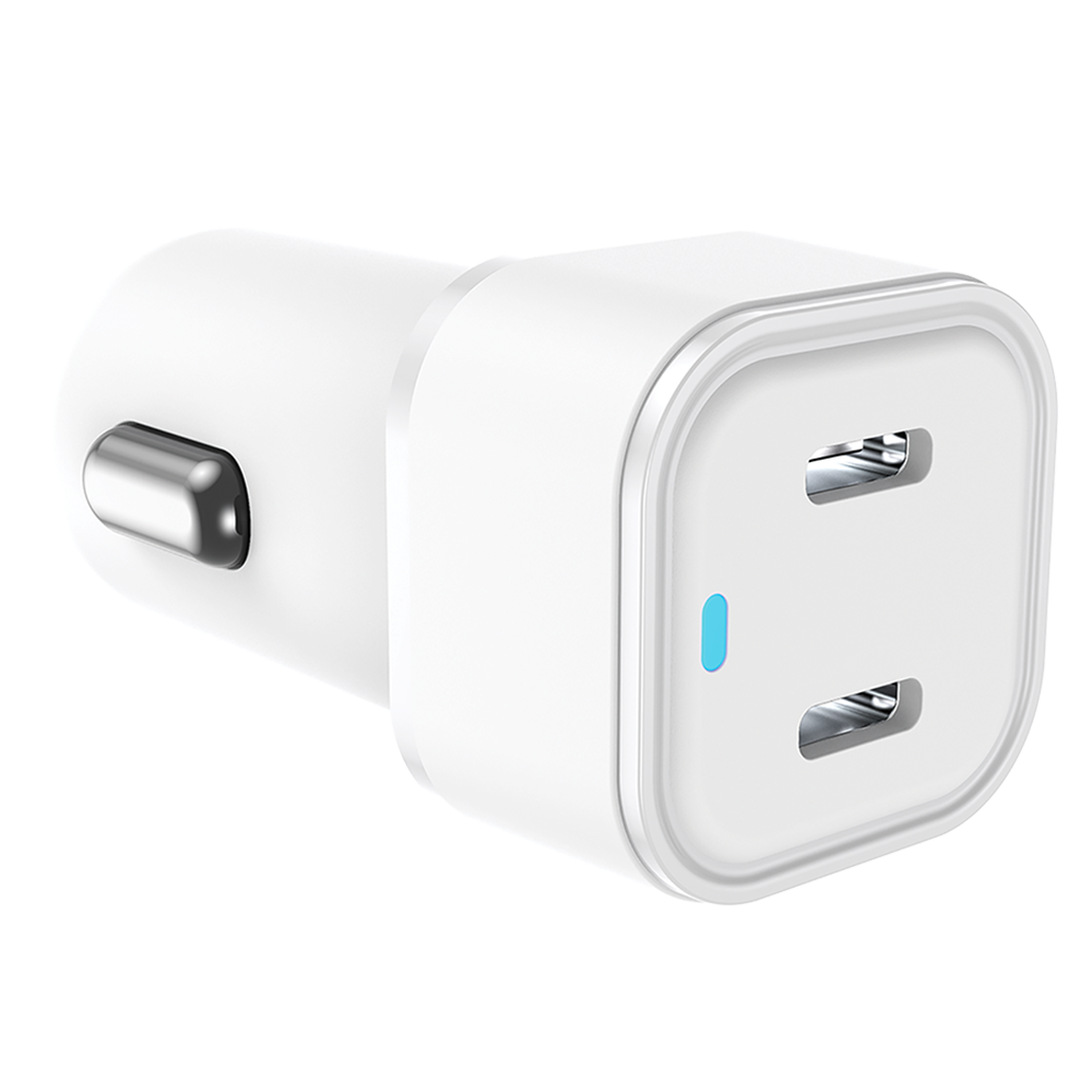 Qmadix - Dual Port Power Delivery Car Charger 20W - White