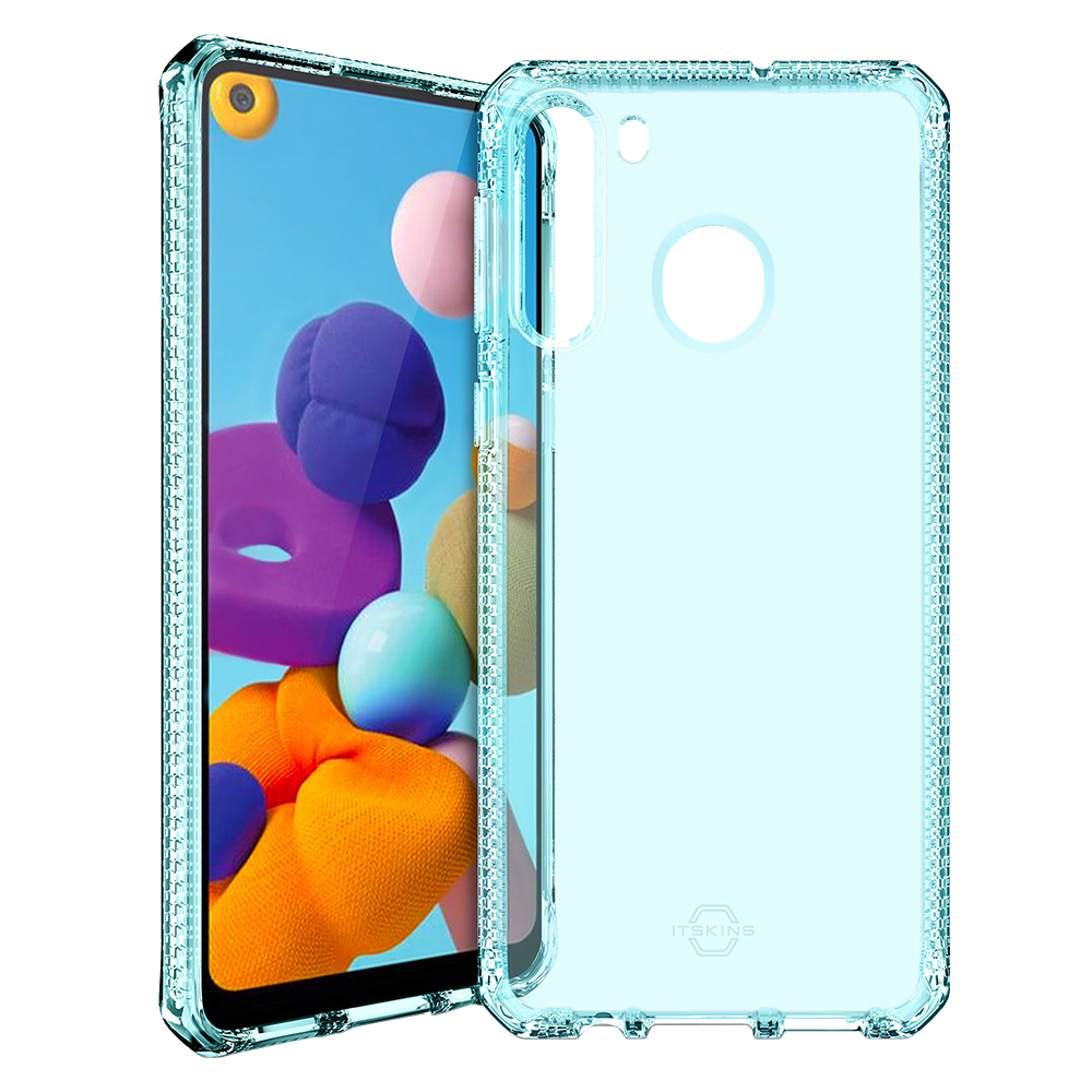ITSKINS - Spectrum Clear Case for Samsung Galaxy A21 - Light Blue
