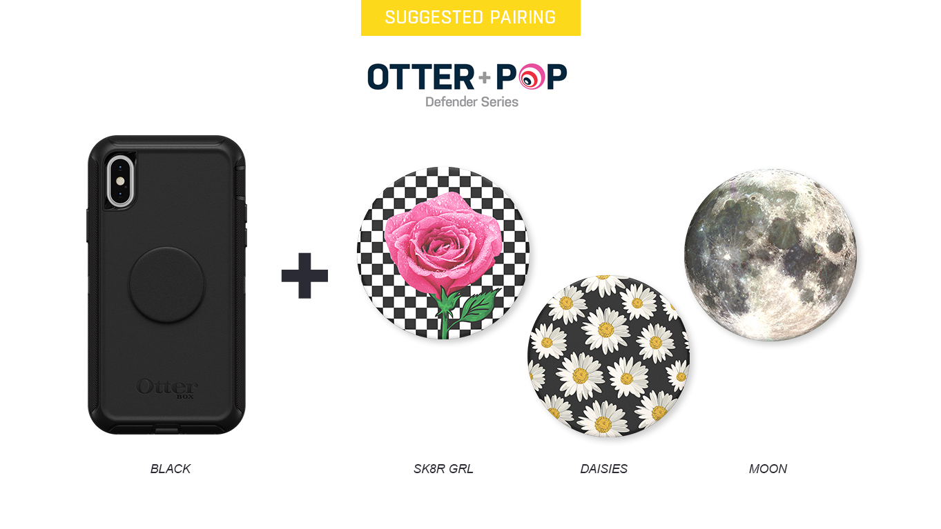 PopTops to pair with Otter + Pop Defender Black Case