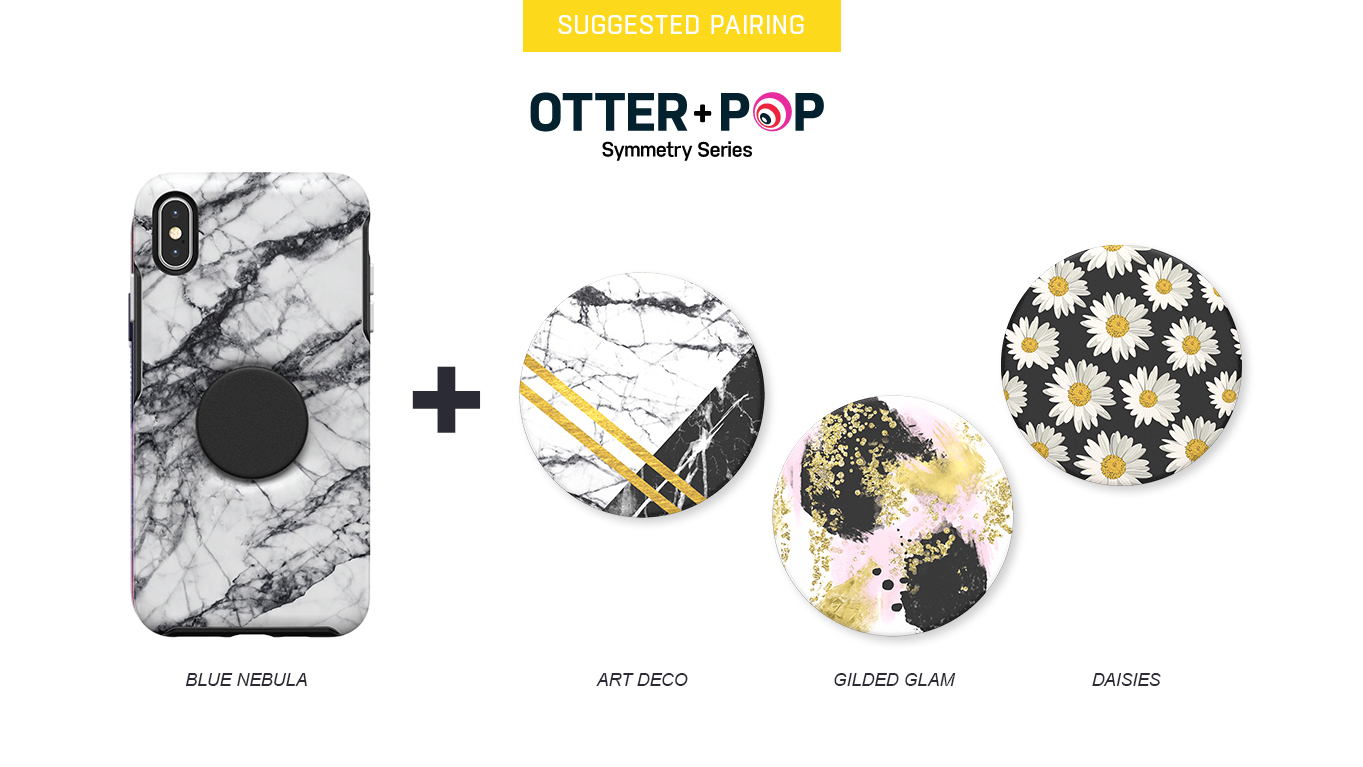 PopTops to pair with Otter + Pop Symmetry White Marble Case